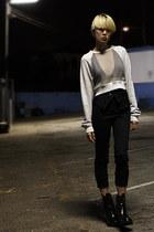 heather gray Alexander Wang sweater - black t by alexander wang bra - black Acne