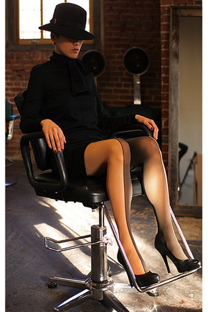 black Bilali dress - black vintage hat - nude Wolford stockings