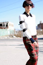 Off-white-gryphon-sweater-black-derek-lam-sunglasses-brick-red-asos-skirt