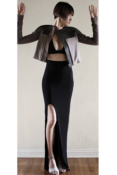 black bec & bridge skirt - gray Rick Owens jacket