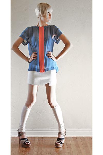 sky blue asos top - light blue Hussein Chalayan skirt - beige falke accessories