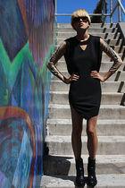 beige DIY intimate - black Alexander Wang dress - black ann demeulemeester boots