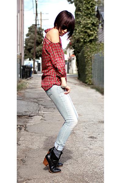 red vintage shirt - black Rachel Comey boots - light blue R13 jeans