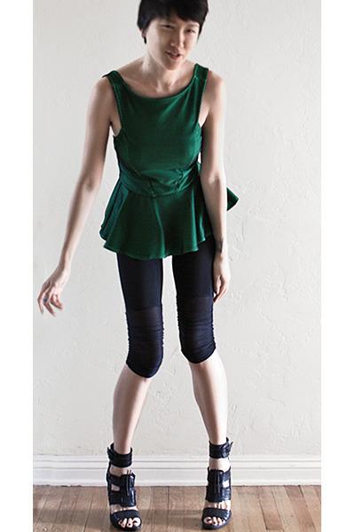 green asos top - black Pencey shorts - black LD Tuttle heels