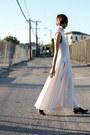 White-antipodium-dress-black-jil-sander-flats