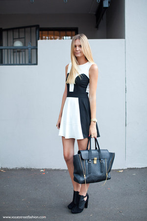black cut out Topshop boots - white jersey asoscom dress