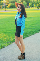 black knit Forever 21 dress - turquoise blue denim Forever 21 jacket