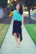 black high-low Forever 21 skirt - turquoise blue sheer button-up papaya top