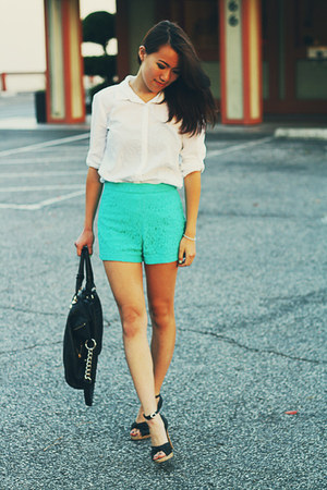 white button-up Forever 21 shirt - aquamarine lace Forever 21 shorts