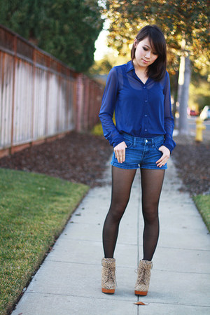 leopard booties Deena & Ozzy heels - denim shorts Forever 21 shorts
