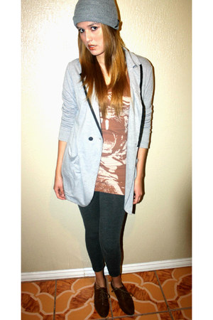 light brown H&amp;M dress - heather gray Vans hat - periwinkle She Said blazer
