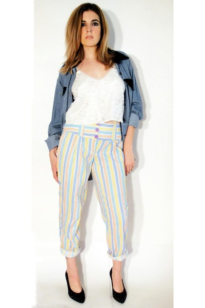 white vintage pants