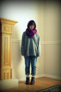 Silver-sweater-purple-scarf-blue-jeans-brown-boots