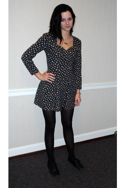black vintage rampage dress - K Bell tights - Keds shoes - custom nameplate neck