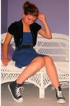 vintage vest - American Apparel dress - vintage belt - Converse shoes - Forever