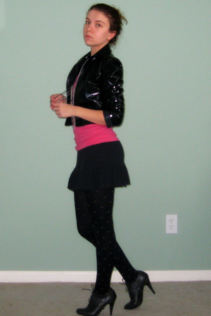 black vintage jacket - pink Target shirt - black unknown skirt - black Forever 2