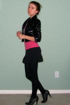 black vintage jacket - pink Target shirt - black unknown skirt - black Forever 2