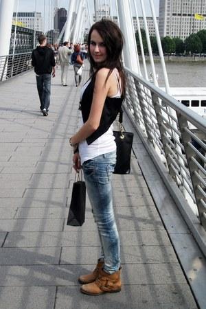 black H&M vest - carrot orange Office boots - sky blue jeans pull&bear jeans