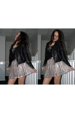 black leather jacket - light pink lace skirt