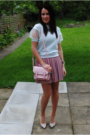 powder pink banana republic skirt - mint Primark top - studded Zara heels