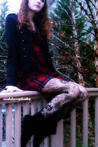 red kHOLES dress - black Steve Madden boots - black Express tights - black jacke