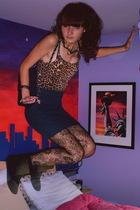 Express shirt - garage skirt - Express tights - Steve Madden boots - Urban Outfi