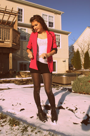 black American Eagle tights - hot pink Topshop blazer - black Wanted boots