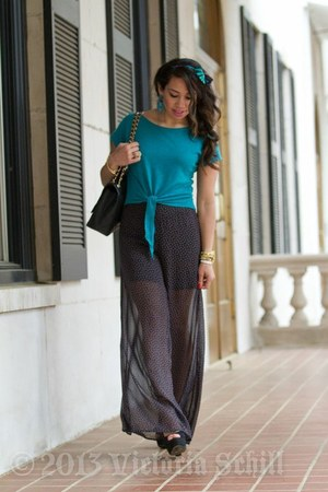 cropped top vintage blouse - sheer pants Forever21 pants