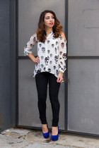 skull top BaysStyleDiary blouse - black jeans Charlotte Russe jeans