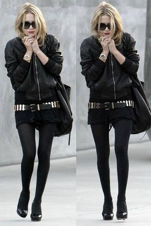 black jacket - black dress - black tights - black shoes - black sunglasses - gol