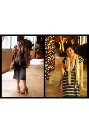 navy bangkok market dress - tawny Parisian heels - eggshell H&M scarf - light br