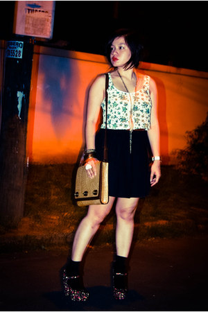 brown woven sling Aranaz bag - brown H&M belt - black H&M skirt - white cropped
