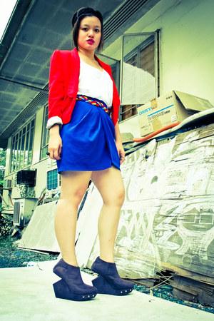 red H&M blazer - charcoal gray meeker DAS heels - blue Forever 21 skirt - Foreve