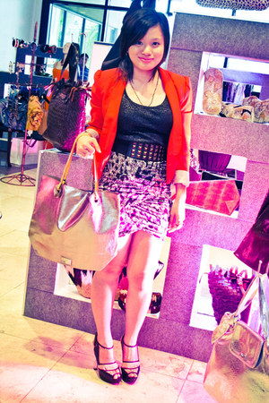 red tailored H&M blazer - silver Aranaz bag - black Mango top - gray bandage H&M