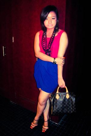 brown speedy 30 LV bag - black Aldo heels - blue Forever 21 skirt - black Doroth