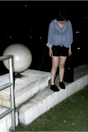 blue bangkok market blouse - black Forever 21 shorts - black Forever 21 boots -