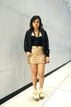 light pink sequined Forever 21 skirt - black leather jacket - black corset top