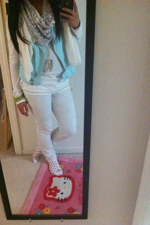white scarf - white long sleeve top - white pants
