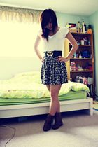 white Forever 21 shirt - blue skirt - brown Classified boots - black belt