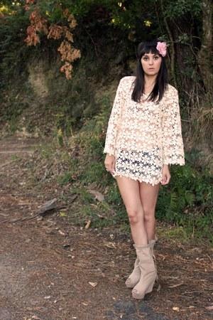 beige Naf Naf dress - beige leather Zara boots - light pink Lefties accessories