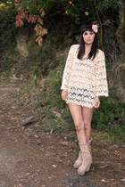 beige Naf Naf dress - beige leather Zara boots - light pink Lefties accessories