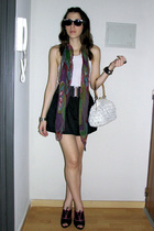 black la ostia skirt - purple vintage scarf - white vintage bag