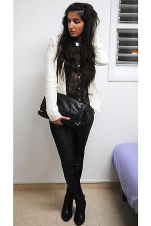 deep purple Topshop blouse - black leather Topshop pants