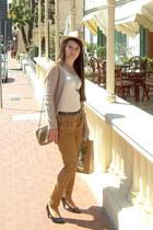 bronze cotton Zara pants - light pink Easy Wear sweatshirt - ivory cotton no bra