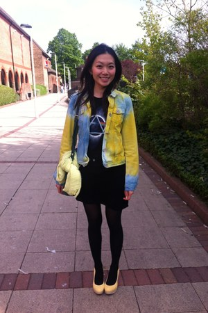 yellow Rokit jacket - black H&M dress - light yellow Hobbs scarf