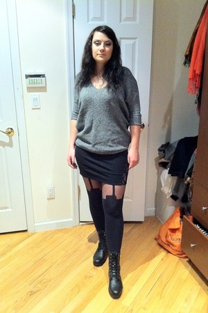 Urban Outfitters boots - Express sweater - Expressss skirt