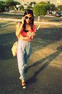 Pink-self-made-blouse-blue-self-made-pants-beige-self-made-purse