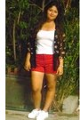 Red-walmart-shorts-black-forever-21-cardigan-white-aeropostale-sneakers