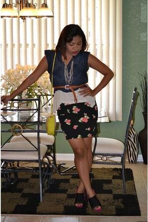 xhilaration skirt - made myself blouse - thrifted belt - target accessories