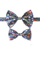 navy bow tie Equeglitz tie - red necklace Equeglitz necklace